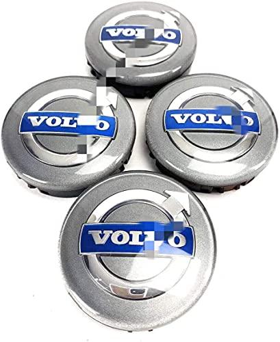 MENGBAO Tapas De Hub De Ruedas De 4 Unids para Volvo C70 S40 V50 S60 V60 V60 S80, Emblema 3D Rueda De Aluminio Capas Centrales Cubiertas con Adhesivos De Logotipo Accesorios para Automóviles, 64 Mm,A