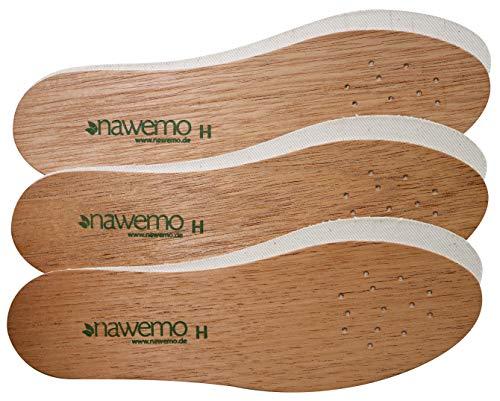 Nawemo Einlegesohlen aus Zedernholz für Herren (3er Pack / 3 Paar) - die Original Premium Zedernsohlen für ein natürliches Fußklima - gegen Schweißfüße, Fußgeruch, Fußpilz und Nagelpilz, Braun, 43