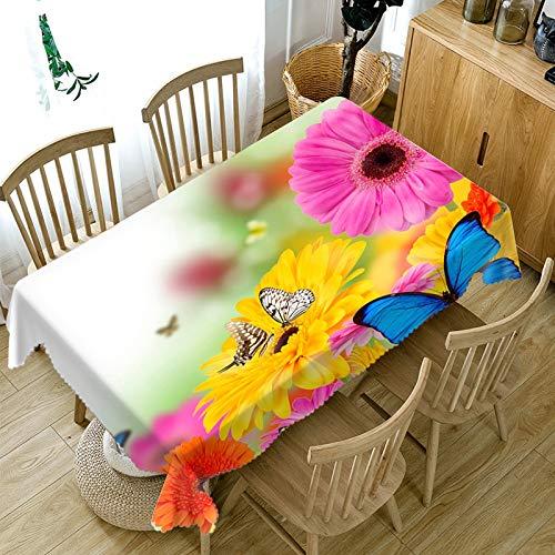 XXDD Mantel 3D de Estilo Pastoral, patrón de Flores de Mariposa Coloridas, Mantel Rectangular de algodón para Mesa de Boda, variación A1