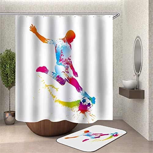 Chickwin Cortina de Ducha Antimoho Impermeable, 3D Impresión Poliéster de Tela Cortinas de Baño con 12 Anillas Cortina de Bañera Lavable para Baño Decorativas (Deporte de fútbol,90x180cm)