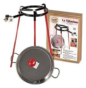 Vaello, Paellera con quemador de gas - El juego incluye: quemador de anillo de gas de 300 mm, paellera pulida de 38 cm, trípode