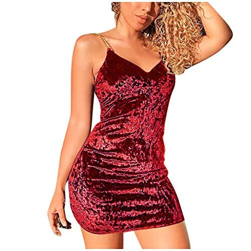 Janly Clearance Sale Vestidos de mujer, vestido liso con cuello en V, correa sin mangas hueco delgado vestido de fiesta de noche, Lady Sundress (rojo/M)