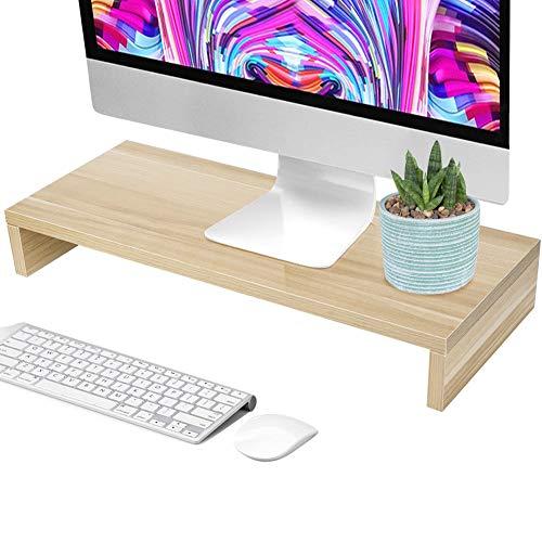 Wooden Monitor Stand, LED LCD Computer Monitor Riser Desktop Organizer Display Bracket Storage Rack (Wooden Color)
