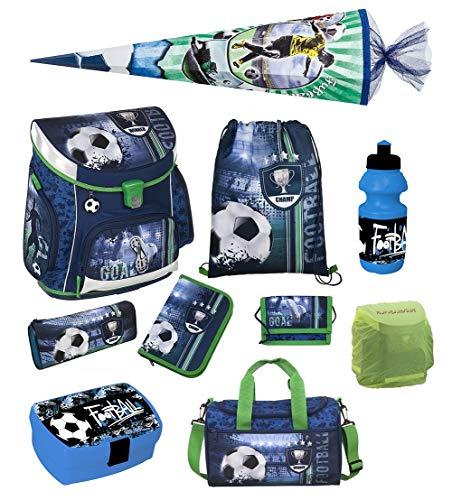 Familando Fußball Schulranzen-Set Scooli Campus FIT 10tlg. mit Sporttasche, Schultüte 85cm groß und Regenschutz