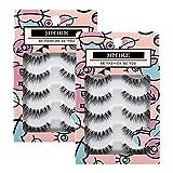 JIMIRE Fake Eyelashes Natural Multipack Lashes False Eyelashes 2 Packs