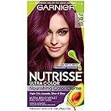 Garnier Nutrisse Ultra Color Nourishing Hair Color Creme, V2 Dark Intense Violet (Packaging May Vary), Pack of 1