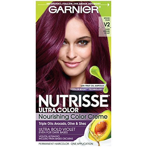 Garnier Nutrisse Ultra Color Nourishing Hair Color Creme, V2 Dark Intense Violet (Packaging May...