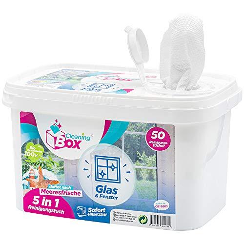 CleaningBox® 5-in-1 Kompostierbare WetCleanWipes Reinigungstücher Glas & Fenster, 50x Fenstertuch Streifenfrei und Biologisch abbaubar, Weiß 30x30 cm - Fenstertücher Made in Germany