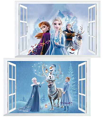 Kibi 2PCS Wandtattoo Frozen Wandtattoo Eiskönigin (Frozen) Elsa und Anna Wandsticker Frozen Disney für Kinderzimmer Living Room Removable Prinzessin Elsa Anna Wandtattoo Kinderzimmer Frozen Olaf