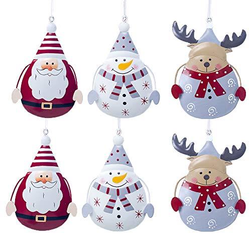 Catrne Decorazione per Albero di Natale 6 Pezzi Pendente per Albero di Natale con Albero di Natale mentale Pupazzo di Neve Renna Pendenti di Babbo Natale