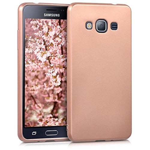 kwmobile Hülle kompatibel mit Samsung Galaxy J3 (2016) DUOS - Hülle Handy Metallic Rosegold