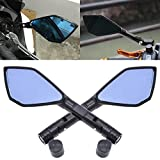 TUINCYN Espejos retrovisores laterales de 8 mm 10 mm para motocicleta pernos roscados para motocicleta con lentes azules irregulares