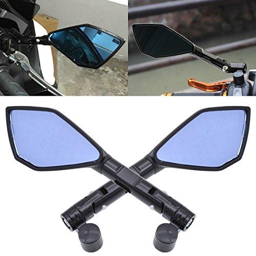 TUINCYN Espejos retrovisores laterales de 8 mm 10 mm para motocicleta, pernos roscados para motocicleta con lentes azules irregulares, color negro (1 par)