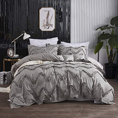 TEALP Princess Bedding Plain Color Shabby Farmhouse 3pcs Rustic Pillow Shams Wavy Bedroom Ruffle Cover Dust Girls Duvet Hyperallergic Decor Home Chic Set,Grey,Queen