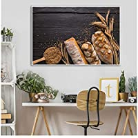 LIUYUEKAI フードポスター家の装飾キャンバスプリントモダンアート小麦パンフードペインティングキッチンの装飾リビングルームアートワーク-50x75cmフレームなし