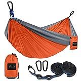 Kootek Camping Hammock Double & Single Portable Hammocks with 2 Tree Straps, Lightweight Nylon Parachute Hammocks for Backpacking, Travel, Beach, Backyard, Patio, Hiking (Orange & Grey, Large)