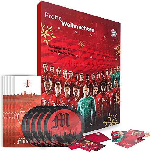 Bayern München Adventskalender XXL mit Autogrammkarten der FCB Stars, 25 x Schokoladen Täfelchen, Gutschein und je 5 x Aufkleber Forever München und Lesezeichen I Love München