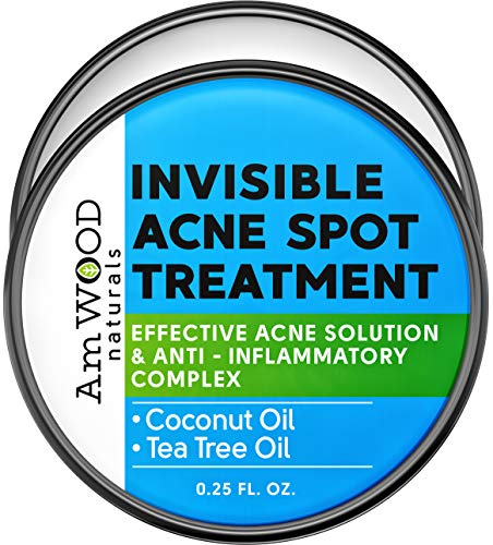 Invisible Acne Spot Treatment Cream - Made in USA - Natural Under Make Up Formula for Clear Skin - Pimple Face Cream with Coconut Oil and Pure Tea Tree Oil - Amwood by Aeno Acne Treatment - 0.25 Oz