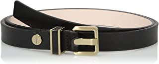 Women's 20mm Semi-Shine Belt with Metal Loop with Leather Inlay
