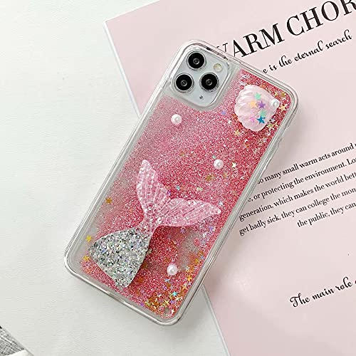 Miagon Liquid Quicksand Case for Samsung Galaxy S21 Fe,Glitter Floating Sparkle Bling Transparent 3D Cute Case,Fish Pink