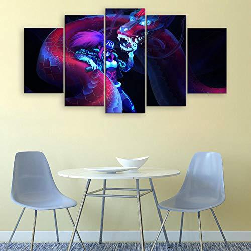 WARMBERL Peintures Sur Toile 5 pièces De Toile Peinture Jeu Affiche Alliance Wall Art Impression Photo Décoration De La Maison Moderne Animation Oeuvre Prints on Canvas Framed
