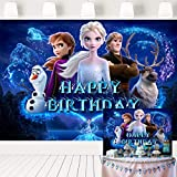 Frozen Birthday Party Supplies Photography Backdrops 7x5ft Girl Elsa Princess Birthday Party Cake Table Decoration Banner Background Photo Studio Props LF-332