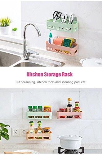 Katoot@ Kitchen Storage Rack Self-Adhesive Hanging Basket Box Organizer Toilet Bathroom Cooking Tools Holders Wall Mounted Stick Type (Green)