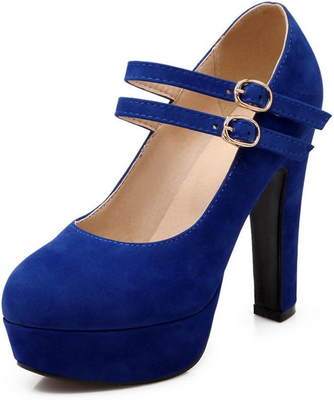 BalaMasa Ladies Metal Buckles Buckle Soft Material Pumps-shoes