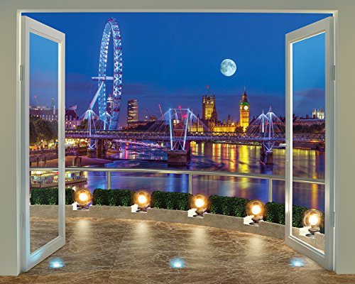 Walltastic London Skyline Wallpaper Mural, Multi-Colour
