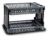 TIENDA EURASIA® Escurreplatos de Plástico 2 Alturas con Bandeja - Textura Ratán - Gran Capacidad...