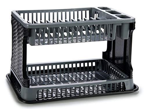 TIENDA EURASIA® Escurreplatos de Plástico 2 Alturas con Bandeja - Textura Ratán - Gran Capacidad y Resistencia - 30,3 x 8,5 x 44,5 cm (Gris)