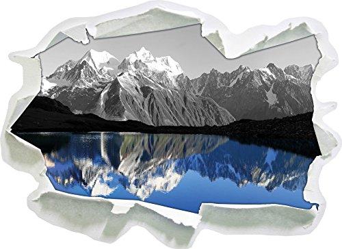 Gewaltige Berge vor Spiegelsee schwarz/weiß, Papier 3D-Wandsticker Format: 92x67 cm Wanddekoration 3D-Wandaufkleber Wandtattoo