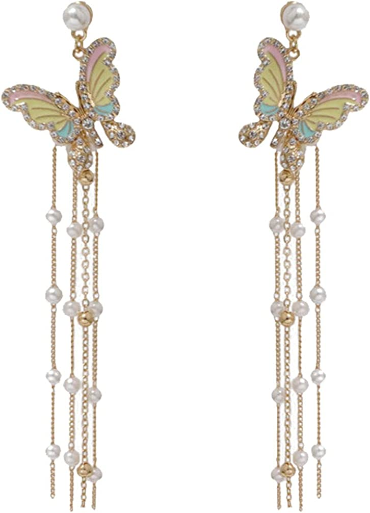 Colorful Butterfly Clip on Earrings for Women and Girls with Long Chain Tassel Simulated Pearl Dangle Drop Hoop Ear Clips Non Piercing Screw Back Adjustable Gold Plated Fashion Jewelry