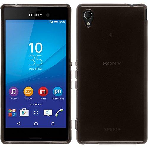 PhoneNatic Hülle für Sony Xperia M4 Aqua Hülle Silikon schwarz transparent Cover Xperia M4 Aqua Tasche + 2 Schutzfolien