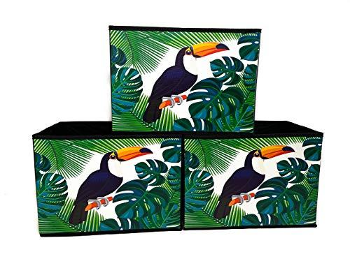 Cajas Almacenaje Decorativas de Tela – Cubos Plegables (Tucan, 33x23x23_cm)