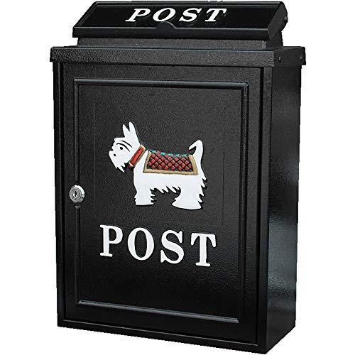 Mailbox Waterdichte Openlucht Mailbox Grote Creative Letter Box Aan de muur bevestigde Post Box Met Slot for Garden Patio Dog Black Brievenbus (Color : Black, Size : 28.4x12.5x41cm)