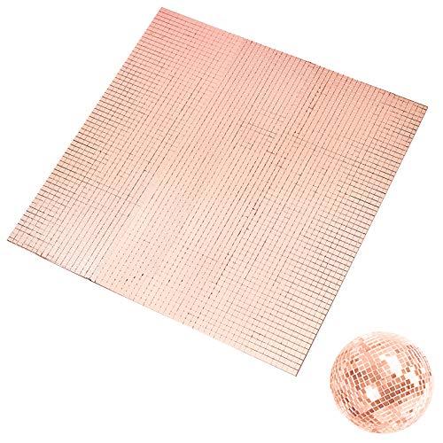 PandaHall Aproximadamente 3600 piezas de azulejos de mosaico de cristal autoadhesivos, color oro rosa, mini cabujones cuadrados para techos de pared, decoración, artesanía, 5 x 5 mm
