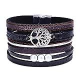RONLLNA Tree of Life Leather Cuff Bracelet Wrap Bangle Boho Bracelets with Pearl