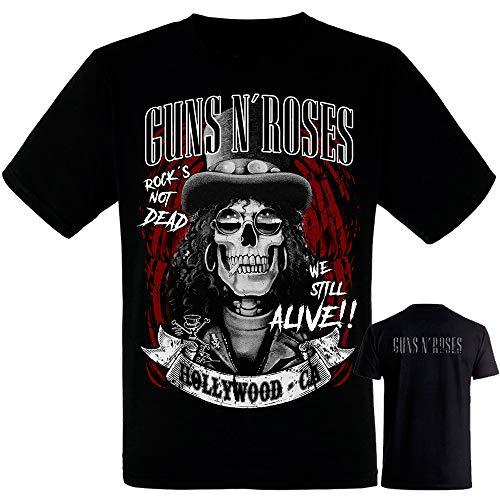 Guns N Roses -Slash - Camiseta Negra Hombre Manga Corta -Guns N Roses- Tshi...