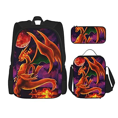 Cha-Rizard Rugzak Unisex driedelige rugzak Set Potlood Box Lunch Bag One Size