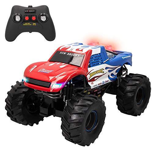 New Bright - Coche teledirigido, Monster Truck, Coches teledirigidos para niños, Juguetes para niños 8 años, Coches rc, RC 4x4 con radiocontrol, Coches con luz y sonido, Escala 1.10 (46564)