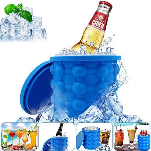 VZATT Ice Cube Maker, EiswüRfelform Mit Deckel, Platzsparende Eiseimer Mit Deckel, EiswüRfelbehäLter Silikon EisküBel, FüR Whiskey, Cocktail Und Jedes GeträNk BBQ, Bpa-Frei