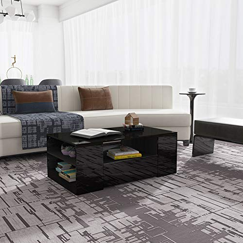 Modern High Gloss Rectangular Coffee Table Tea Table Side Storage Furniture Simple Design with 2 Drawers for Home Living Room Office, Easy To Install (Black)