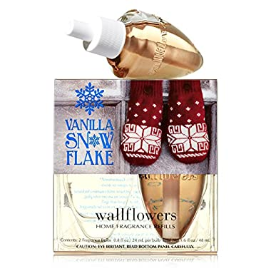 Bath and Body Works Vanilla Snowflake Wallflower Refill 2 Bulbs 2014 Design