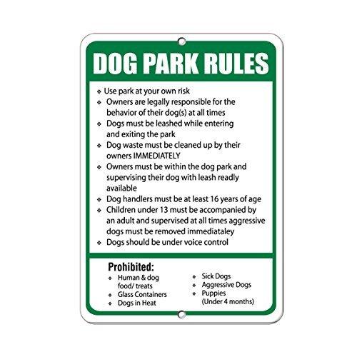 Letrero de metal para decoración del hogar, con texto en inglés 'Dog Park Regulations Dogs Must Stay Within Specified Area
