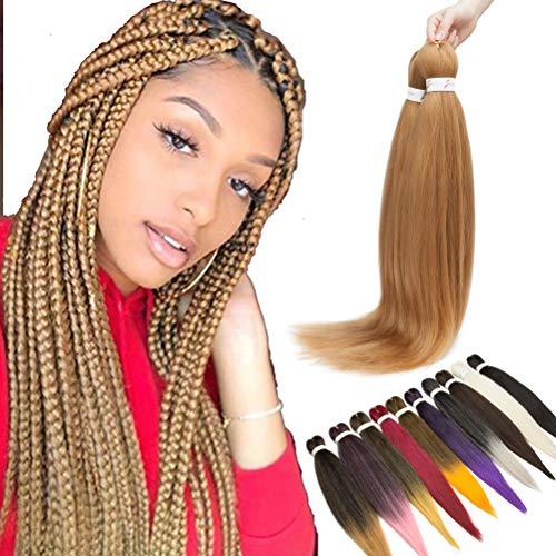 1pc 66cm Pre-Stretched Easy Trenzas Extensiones de Pelo Yaki Braiding Twist Crochet Hair Profesional Fibra Sintético para Trenzas Africanas Box Braids Café marrón