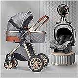 Cochecito ligero, silla elegante, cochecito de bebé plegable, desde el nacimiento hasta 3 años, posición acostada, con accesorios, tapa de lluvia del ventilador de cochecito, fábrica, bolsa de mamá, m