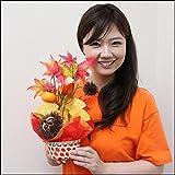 秋の装飾 柿と栗の秋味覚盛りカゴ H37cm 3088