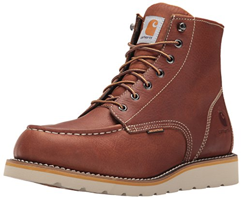 Carhartt Men's 6' Waterproof Moc Toe Casual Wedge Work Boot, Tan, 12 W US