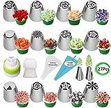YUIP Set di punte per tubazioni russe, 27 pezzi, beccucci per glassa a forma di fiori, sacchetti per glassa e forniture da forno